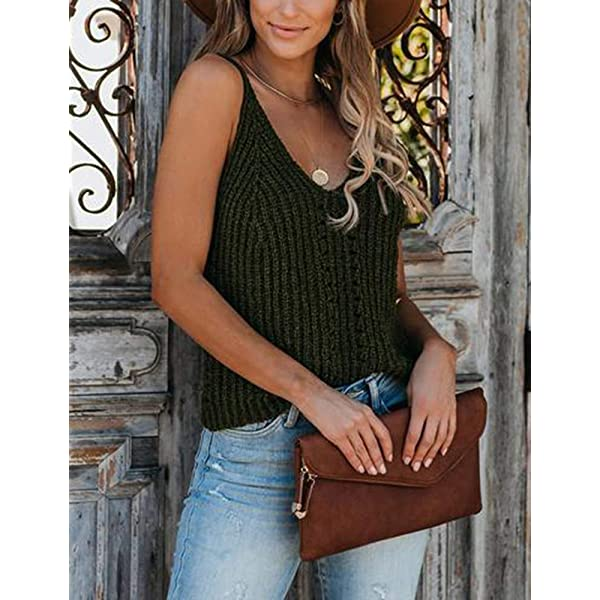 Flawerwumen Womens V Neck Tank Sweater Tops Sleeveless Strappy Knit Casual Sheer Vest Shirts Blouse
