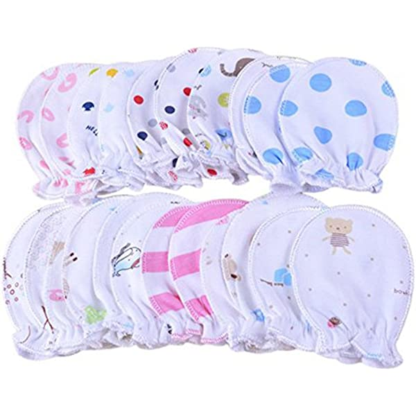 Haifly 6 Pairs Cute Cartoon 0-6 Months Baby Gloves Newborn Infant Anti Scratch Mittens for Boys Girls