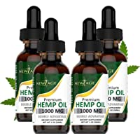 (4-Pack) Hemp Oil Extract for Pain, Anxiety & Stress Relief - 1000mg of Organic...