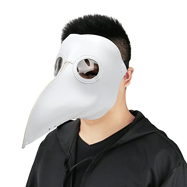 Plague Doctor Mask Birds Long Nose Beak Faux Leather Steampunk Halloween Costume Props (White)