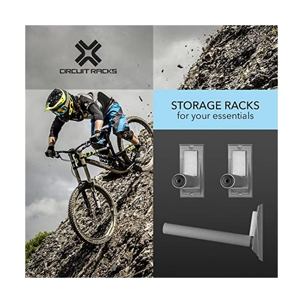 for vertical or horizontal mounting fully adjustable for any sport easy to install Heavy duty universal fit wall storage racks 16 inches long Circuit Racks grey