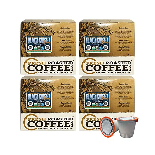 Fresh Roasted Coffee LLC, Swiss Water Decaf Organic Black Knight Coffee Pods, Dark Roast, Compatible with 1.0 & 2.0 Single-Serve Brewers, 72 CT