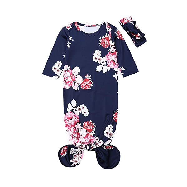 Canaseay Newborn Baby Sleepwear Floral Gown Long Sleeve Sleepwear Knotted Romper Nightgown Sleeping Bags Outfit