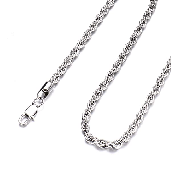 36 INCH SILVER STAINLESS STEEL 4MM ROLO  LINK ROPE CHAIN NECKLACE