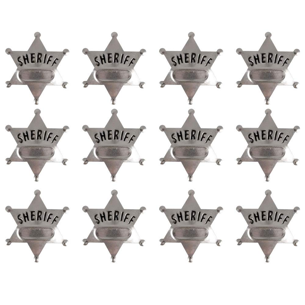 12 Pieces Metal Sheriff Badge Old West Cowboy Costume Badge Black Sliver Halloween Toy Badge Party Favors