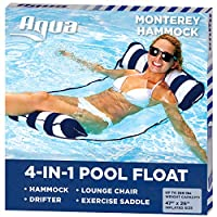 Aqua 4-in-1 Monterey Hammock Inflatable Pool Float, Multi-Purpose Pool Hammock (Saddle, Lounge Chair, Hammock, Drifter) Pool Chair, Portable Water Hammock, Navy/White Stripe