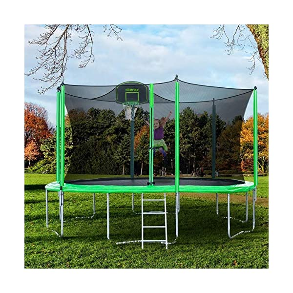 BV Certificated Merax 14FT Kids Trampoline with Safety Enclosure Net Basketball Hoop and Ladder Basketball Trampoline