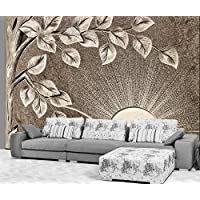 3D Wallpaper Tv Wall Decor Stickerr Brown Trees and Leaves Marble Carving Simple Modern Wall Paper Wall Stickers for Bedroom Decor