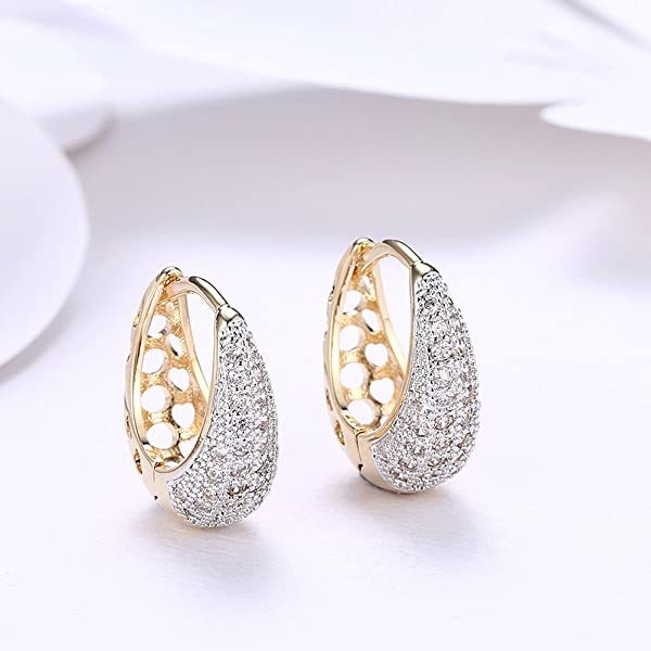 24mm Diameter Anni Coco Champagne Gold Plated Cubic Zirconia Circle Hoop Earrings for Women Girls
