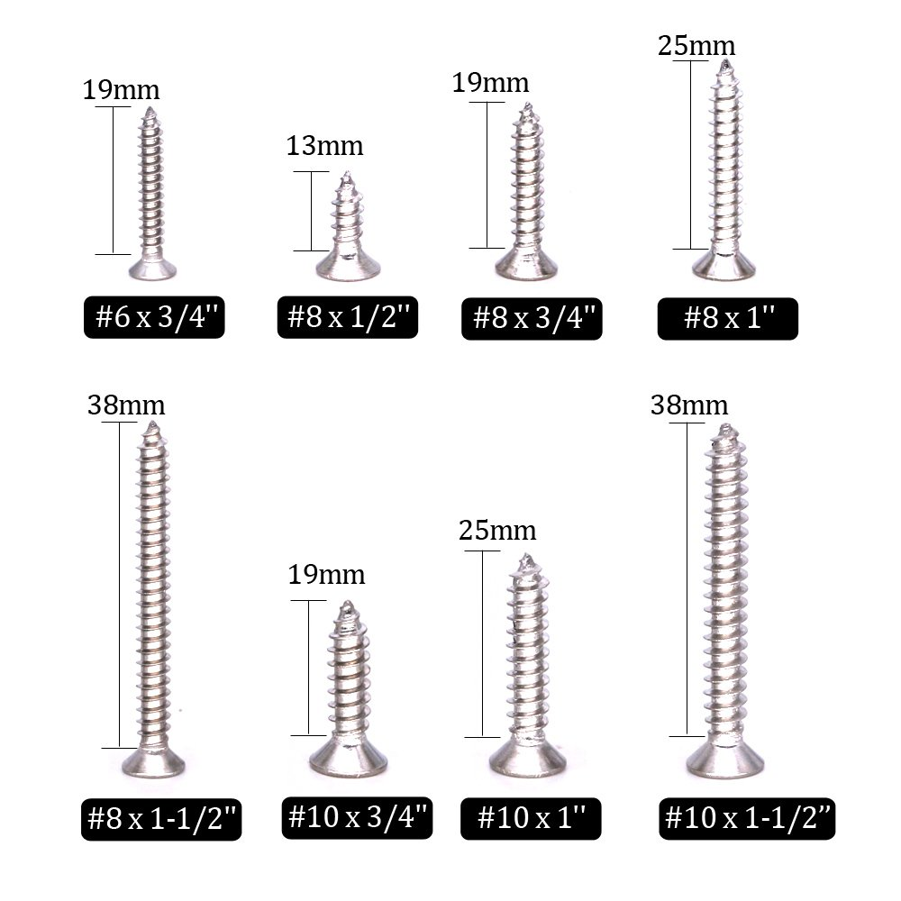 DYWISHKEY 310 Pieces #6#8#10#12 Stainless Steel 304 Phillips Pan Head Self-Tapping Screws Wood Screws Assortment Kit