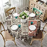 Brown Vintage Big Round Tablecloth Mega Pack Old Advertisement Designs and Labels Collections Newspaper Nostalgia Image Table Cloth Decorative Fabric Table Cover Ivory D130 Inch