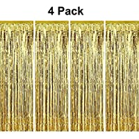 pozzolanas 4 Pack Foil Fringe Curtain Metallic Tinsel Shimmer Party Photo Backdrop Curtains for Birthday, Engagement, Baby Shower, Weddings Party and Celebrations Backdrop Decorations(Gold)