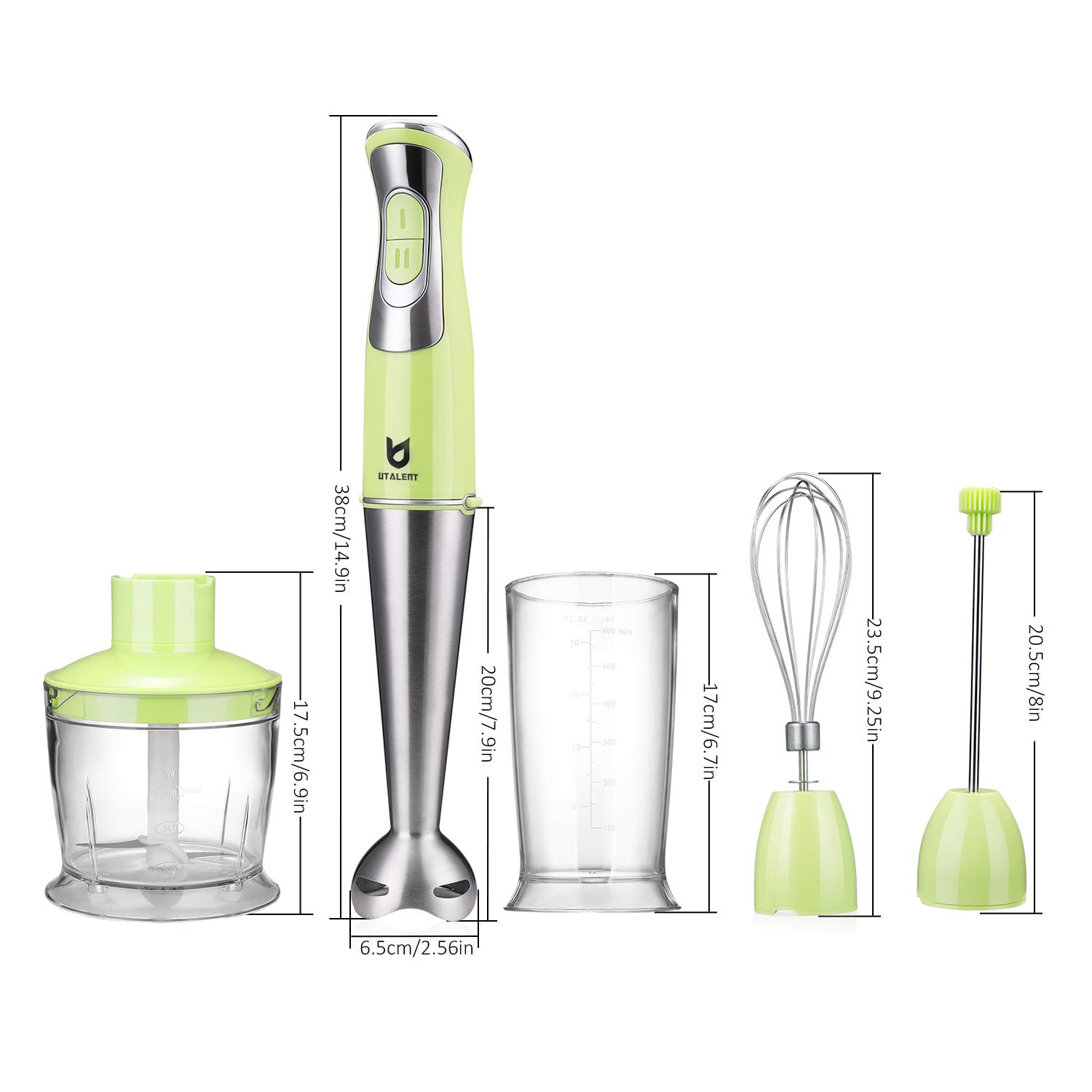 Puree Baby Food Egg Whisk for Coffee Milk Foam Green Smoothies Utalent 3-in-1 8-Speed Stick Blender with Milk Frother Immersion Hand Blender Sauces and Soups