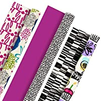 Hallmark Reversible Wrapping Paper (Bold Florals, Black and White, Pack of 3, 120 sq. ft. ttl.) for Easter, Mothers Day, Birthdays, Bridal Showers, Baby Showers or Any Occasion