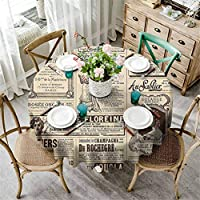 Kitchen Table Cover Vintage Old Historic Newspaper Journal French Paper Lettering Art Light Brown Caramel and White D140 Inch