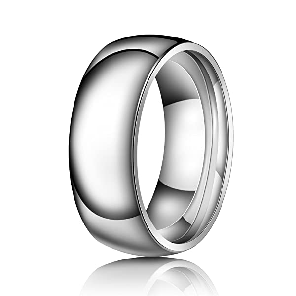 Prime Pristine 8mm Tungsten Comfort Fit Wedding Band Promise Ring Faceted Domed Ring
