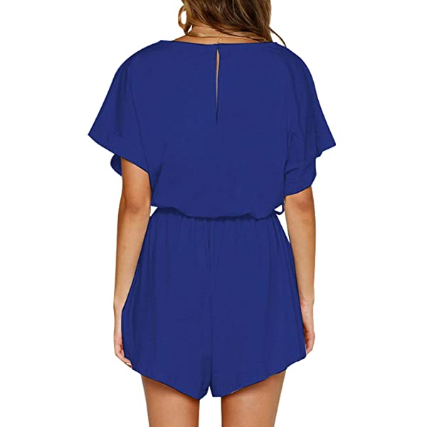 KYLEON Womens Jumpsuits Rompers Solid Color Bat Short Sleeves Girls Loose Summer Party Casual Outfit with Belt Pockets