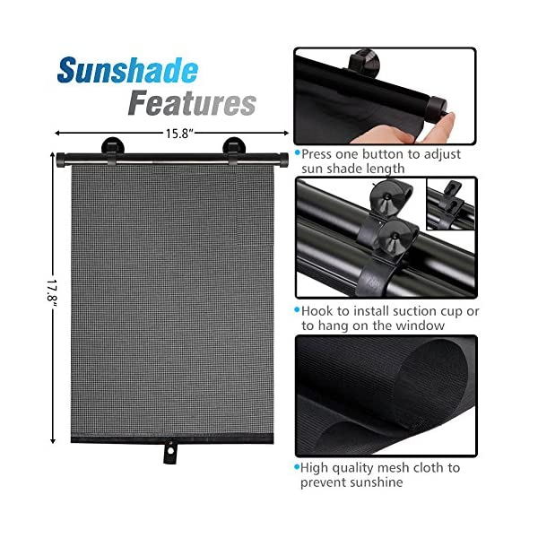 2 Pack AiTrip Car Sun Shade for Baby,Car Window Shade Roller Retractable Sunshade for Side Windows Windshield Sun Shade Blocks 98/% of Harmful UV Rays,Protect Your Kids from Sun Glare and Heat