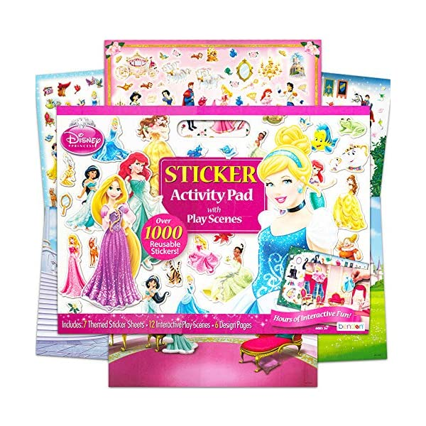 Disney Princess Large Activity Sticker Art Set 875 Stickers, 4 play Scenes, 12 Sticker Coloring Book Activity Pages