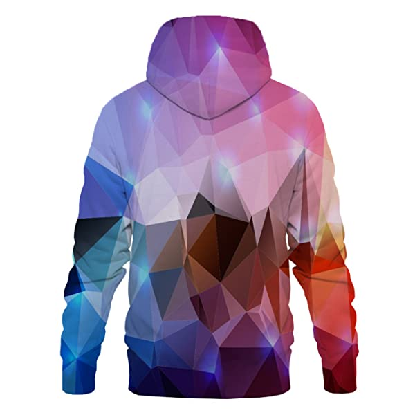 Asylvain Unisex 3D Graphic Hoodies Rainbow Colorful Cool Design 3D Print Sweatshirts for Men and Women with Pocket