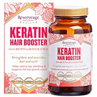 Reserveage, Keratin Hair Booster, Hair and Nails Supplement, Supports Healthy Thickness and Shine with Biotin, Gluten Free, 120 capsules (60 servings)