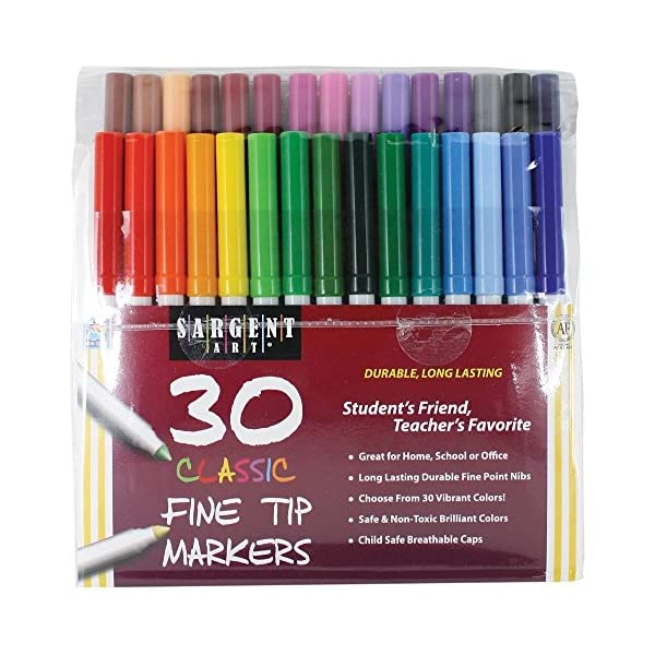 Puns /& Cursing Color and Laugh Your Way to Less Stress! Sargent Art Classic Fine Tip Marker Pens in a Case Set of 30 and Maybe Swearing Will Help: An Adult Coloring Book of Motivation