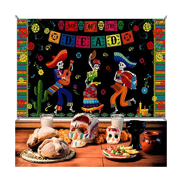 6 x 3.6 ft Extra Large Fabric Day of The Dead Backdrop Banner for Halloween Day of The Dead Party Supplies Party Decoration Photo Booth Backdrop Skull Background Banner