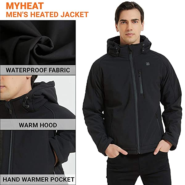 MYHEAT Mens Heated Jacket Soft Shell Electric Heated Jacket with Detachable Hood and Battery Pack