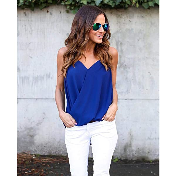 Almost Women Casual Camisole Pullover Tanks Tops V-Neck Solid Vest Tanks /& Camis