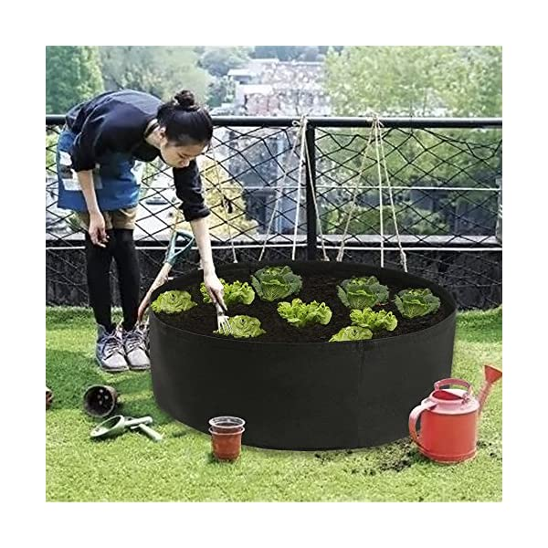 Dia 24 x H 8, Black Pannow Raised Garden Bed Fabric Raised Planting Bed Round Garden Grow Bag for Herb Flower Vegetable Plants
