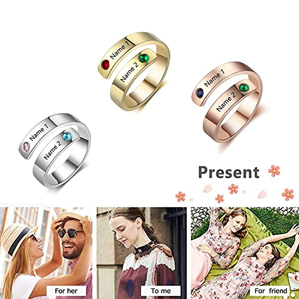 Tian Zhi Jiao Personalized Best Friend Rings Engraved 2 Names Friendship Gifts Adjustable Stainless Steel Wrap Rings for Women Girls