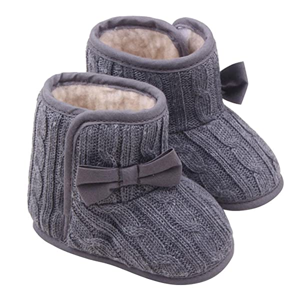 Infant Boots Toddler Shoes Christmas Baby Girl Rainbow Stripe Coral Fleece Snow Boots Cotton Knit with Bowknot About 11cm