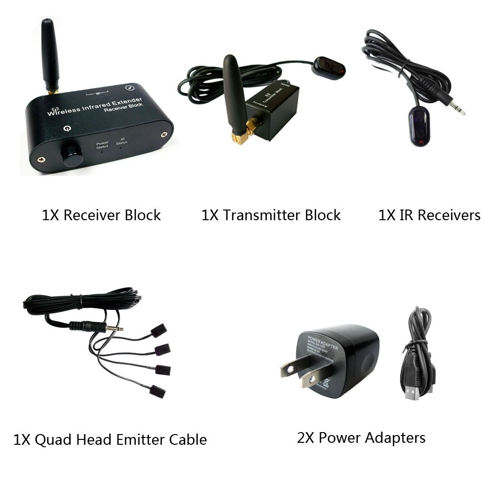 Fourair Infrared Wired IR Repeater with 20-60KHz and IR Remote Control Extender Repeater Kit Infrared IR Extender for Expansion to Hide Your Cable Box Out of Sight.