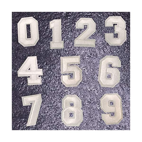 2 Set Numbers Number Sequins Patches Iron On//Sew On Embroidered Applique Patches for Clothes Dress Hat Pants Shoes Curtain Sewing Decorating DIY Craft Repair Patches