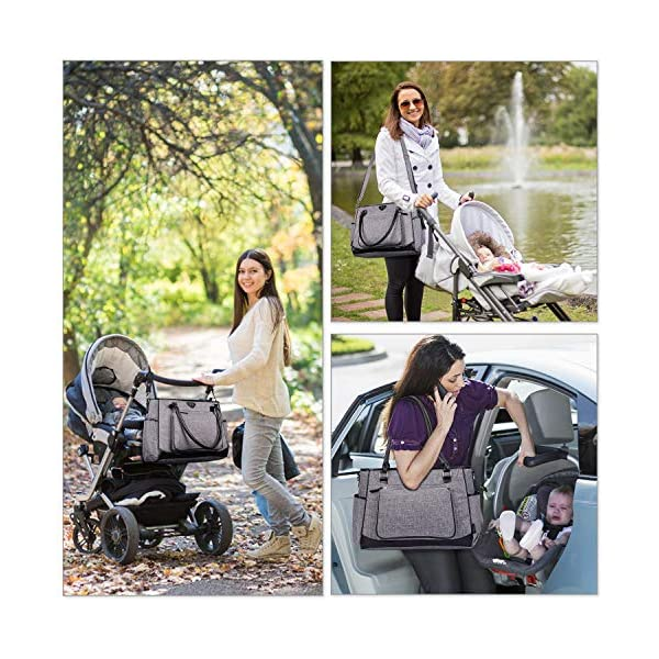 Diaper Tote Bag Organizer,BRINCH Stylish Multi-Function Large Capacity Shoulder Diaper Bag Baby Travel Bag Portable Nappy Bags with Changing Pad,Stroller Straps and Insulated Pocket,Gray/