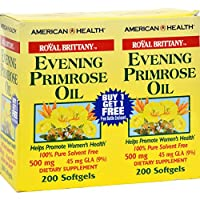 American Health Royal Brittany Evening Primrose Oil Softgels, 2 Pack - Promotes Women's Health - Nutritional Support for Women - 500 mg, 200 Count (400 Total Servings)