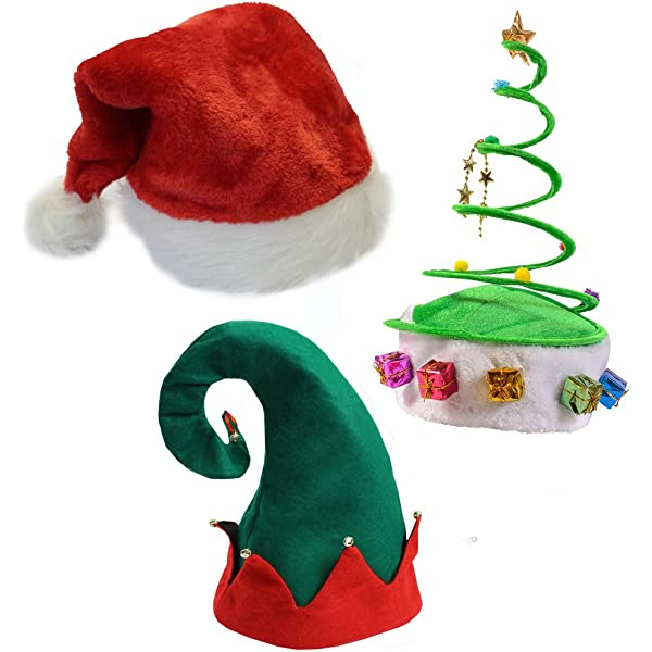One Size Fits Most Christmas Hat For Both Kids and Adults Novelty Red and Green Christmas Holday Santas Elf Hat with Jingle Bells by Clever Creations