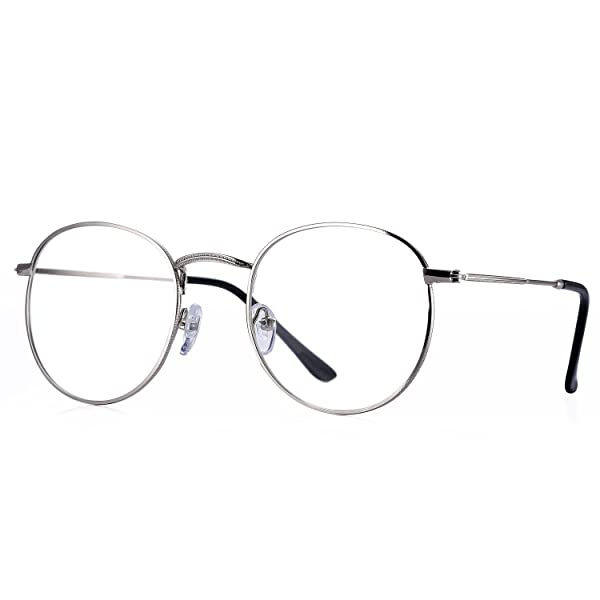 Shiratori Unisex Vintage Classic Metal Glasses Frame With Clear Lenses