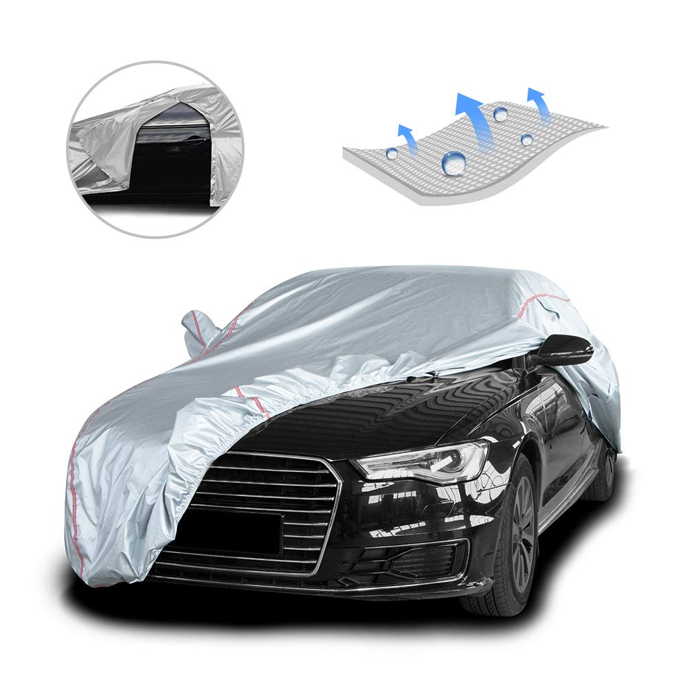 Kayme Multi-Layer Car Cover Waterproof All Weather for Automobiles 185 to 193 inch Outdoor Full Cover Rain Sun UV Protection with Zipper Cotton Fit Sedan 3XL