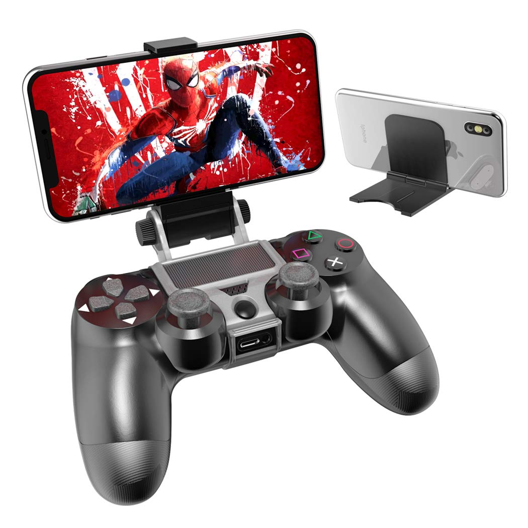 PS4 Slim PS4 Controller Phone Holder Fits Max 6 inch Megadream 180 Degree Rotation Gaming Mount Stand for Sony Playstation 4 Android Samsung Galaxy S9 S8 Note 9 8 Moto LG w//OTG Cable PS4 Pro