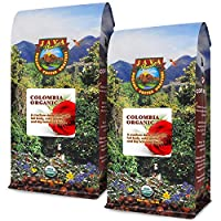 Java Planet - Organic Coffee Beans - Colombian Single Origin - a Gourmet Medium Dark Roast of Arabica Whole Bean Coffee USDA Certified Organic, Rainforest Alliance Certified - Two 1LB Bags