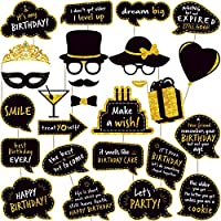 Birthday Photo Booth Props - (No Glitter) Large and Durable, Black and Gold Birthday Party Photobooth Props and Signs (27 Count)