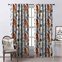Tapesly Animal Wear-Resistant Color Curtain Bunch of Deep Sea Elements with Screw Shell Crabs Urchin Oyster Coral Ammonit Print Waterproof Fabric W52 x L54 Inch Multicolor