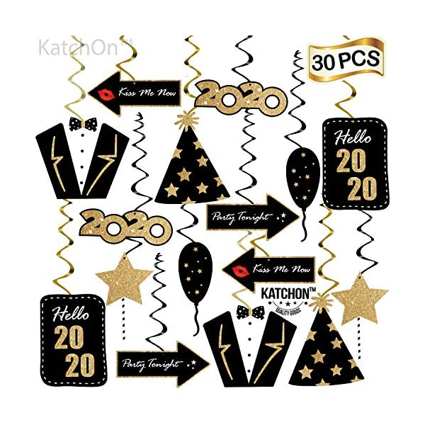 Great for Oscars Award Themed New Year/'s Party Backdrop Pack of 30 KatchOn Happy New Year Hanging Swirl Home Office D/écor Sturdy 2019 New Years Eve Photo Props Swirls Decorations Supplies