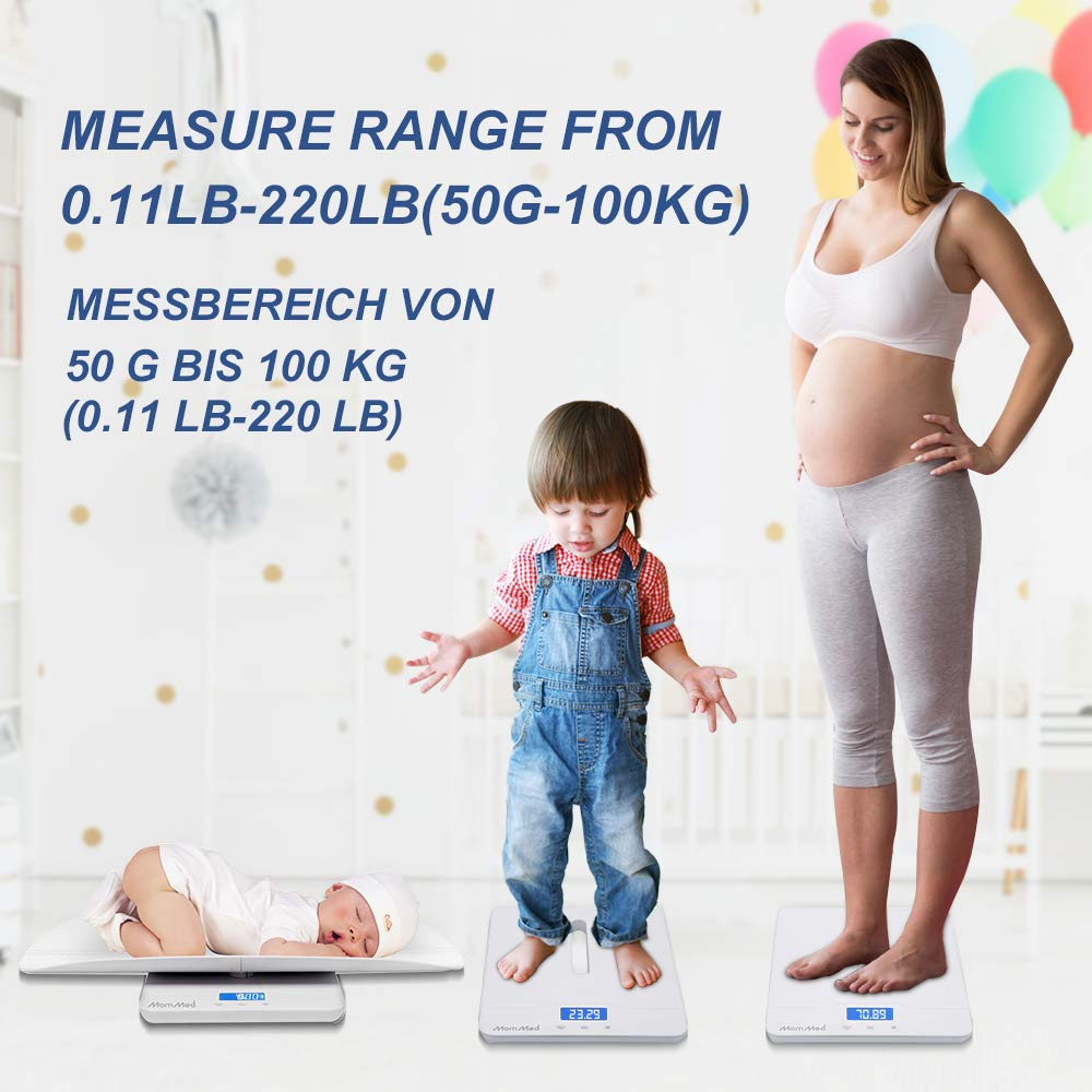 Measure Weight Accurately Multi-Function Baby Scale Max: 70cm Perfect for Toddler//Puppy//Cat//Dog//Adult Max: 220lb Infant Scale Digital Weight with Height Tray BYKAZATY Pet Scale with Tape Measure