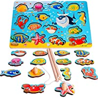 rolimate Magnetic Fishing Game Wooden Fishing Toy Best Gift for 3 4 5+ Years Boy Girl Toddler Kids, 2 Fishing Rods 14pcs Montessori Preschool Learning Toy Wooden Puzzles Educational Developmental Toy