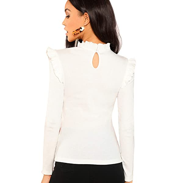 Romwe Womens Stand Collar Slim Fit Frilled Ruffles Shoulder Solid Keyhole Blouse Top