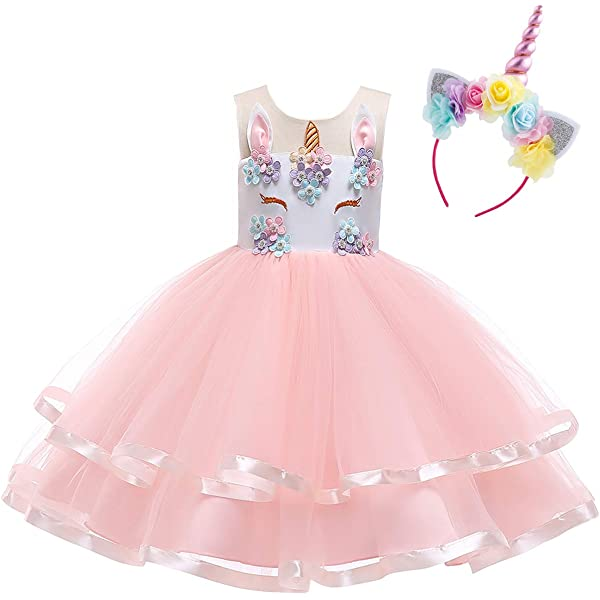 Teen Big Girl Christmas Holiday Unicorn 2,3,4,5,6,7 Year Old Gift for Baby Toddler Princess Costume Party Winter Ballet Clothes S# White+Blush Pink(2pcs) 2-3 Years