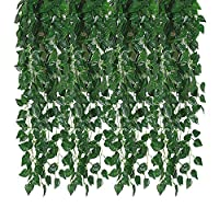 Kalolary 78 Ft 12 Strands Artificial Ivy Garland Leaf Vines Plants Greenery, Hanging Fake Plants, for Wedding Backdrop Arch Wall Jungle Party Table Office Decor (Scindapsus)