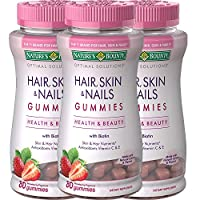 Hair Skin and Nails Vitamins with Biotin and Vitamin C by Nature's Bounty Optimal Solutions, Hair Skin and Nails Gummies - Strawberry Flavored, 80 Gummies (3-Pack)